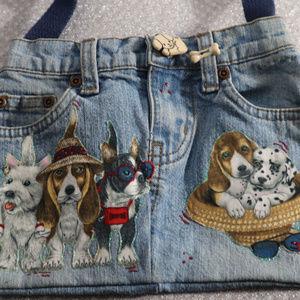 Homemade Denim Jean Purse w/ Applique Dogs Puppies